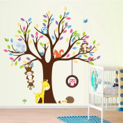 Cartoon Monkey Owls Tree Jungle Animals Theme Wall Art Decals Sticker Murals Decoration for Living Room Nursery Baby Girl Boy Kids Children's Room Bedroom Decor