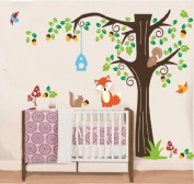 WallStickersDecal Forest Animals (Fox, Squirrels and Birds) and Tree Wall Decal