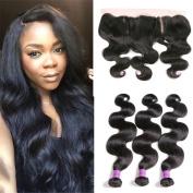 JiSheng Mink Brazilian Human Hair Bundles With Closure Ear To Ear Lace Frontal Closure 8A Unprocessed Body Wave Bundles Natural Colour