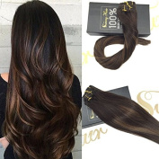 Sunny Clip in Hair Extensions Remy Human Hair 60cm 9pcs 140g Full Head Highlight Chestnut Brown mixed Dark Brown Balayage Dip-Dye Colour Clip in Hair Extension