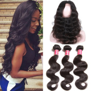 Nadula 7A Brazilian 360 Lace Frontal Closure with 3 Bundles Brazilian Body Wave Hair Cheap Human hair Extensions Natural Colour Can be Dyed and Bleached