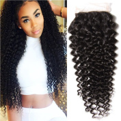 Longqi Hair Brazilian Curly Lace Closure 1PC 4x 4 100% Unprocessed Human Hair Extensions Natural Colour