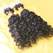 LUFFYWIG 100pcs 0.9g/Pcs Curly Micro Loops Extension 8A Grade Natural Colour Peruvian Human Hair Micro Loop Ring Extensions 90g