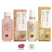 Whamisa Natural Fermentation Organic Flowers Deep Rich Toner & Double Rich Lotion Skin Care Set + Whamisa Organic Facial Mask & A Sample Kit of 8