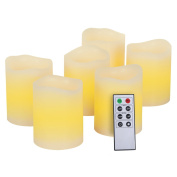 Kohree Real Wax Flameless LED Candles Remote Control Candles Battery Operated Retro Unscented Ivory Votive Pillar Candles Light, Warm White