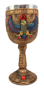 Atlantic Collectibles Ancient Egyptian Horus Falcon Bird God Of The Sky 180ml Resin Wine Goblet Chalice With Stainless Steel Liner