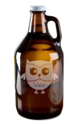 Cute Little Owl Hand-Made Etched Glass Beer Growler 1890ml