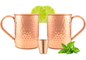 Moscow-Mix 100% Solid Pure Moscow Mule Copper Mugs with FREE SHOT GLASS [470ml] [Hammered] [Straight] [Set of 2]