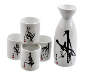 Happy Sales HSSS-SUMI31, Perfect 5 pc Sumi Ink Sake Set, White