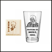 Sophia Petrillo Picture It Sicily 1922, Golden Girls inspired Etched Pint Glass and Engraved Wooden Coaster set