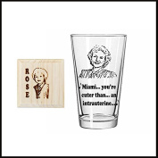 Rose Nylund, Golden Girls inspired Etched Pint Glass and Engraved Wooden Coaster set