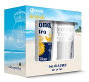 Corona Crown & White Band Pub Glass (Set of 2), Clear