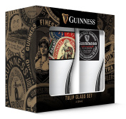Guinness Boxed Tulip Glasses Collage and World (Set of 2), Clear