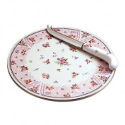 Retired Andrea by Sadek Petit Rose Elegant Round Porcleain Cheese Plate with Matching Server