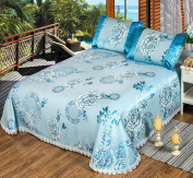 Spring And Summer High - Grade Double Mats Ice Silk Air - Conditioning Seats Three - Piece Foldable Washable Bedspreads,A