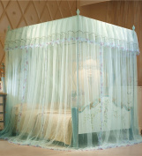 Floor Style Princess Mosquito Net Square Top Three Doors Open Thick Stainless Steel Mosquito Net Bed Canopy Curtain