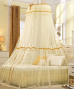 Hanging Dome Mosquito Nets Open Door Princess Landing Insect Bug Protection Bed Canopy Curtain Bed Canopy Curtain ( Colour : Yellow , Size : B