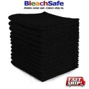 12 NEW COTTON BLEACH PROOF SALON HAND TOWELS (BLACK 16X27) BLEACH SAFE
