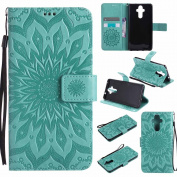Mate 9 Case, Dfly Premium Soft PU Leather Embossed Mandala Design Kickstand Card Holder Slot Slim Flip Protective Wallet Cover for Huawei Mate 9, Green
