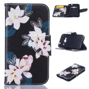 Galaxy J1 2016/J120 Case, FIREF1SH Kickstand PU Leather Wallet Case with Card Slots [Scratch-Resistance] Magnetic Closure Slim Bumper Cover for Samsung Galaxy J120 2016 -Flower-A