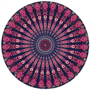 Vintage peacock feathers Hippy Boho Beach Round Yoga Mat Table Cover Shawl Indian Bohemian Tapestry