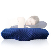 Cooling Gel Memory Foam Contour Pillow U-Shape Curve Designed for the Neck (Navy)