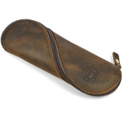 Genuine Leather Pouch - Handmade Vintage Soft Slim Pencil and Glasses Case