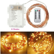 String Lights,SOLMORE LED Fairy Light Starry Firefly Light 10M/33ft 100 LEDs Copper Wire Battery Operated Remote for Christmas Party Outdoor Patio Deck Magical Wedding Dancing Bedroom Decor Warm White