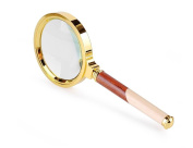 G & M 5 X handheld Magnifier Handheld Wooden Handle Magnifying Glass For Jewellery Antique