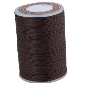 BQLZR 0.45mm Dia 95m Length Dark Brown Ramie Round Waxed Cord Wax String Linen Stitching Thread for Leather Craft Sewing DIY Jewellery Making