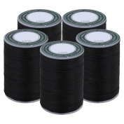 CNBTR 78M Black 0.8MM Polyester Leather Sewing Flat Waxed Thread Cord for DIY Handicrafts Set of 5