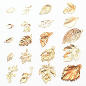 Dandan DIY 40pcs Assorted-Styles Golden Leaf Antique Charms Beads Alloy Pendant Craft Accessory Diy Leaves Necklace Bracelet Craft Jewellery Making Bag Decoration Supply