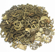 Dandan DIY 100grams(More Than 60pcs) Mix Lots Assorted-Bronze Antique Charms Beads Alloy Bronze Pendant Craft Accessory Diy Necklace Bracelet Craft Jewellery Making Supply