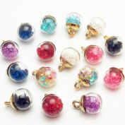 """Dandan DIY 16pcs 12mm(0.48"""") Colourful Mix Lots Assorted-Colours Antique Charms Glass Ball with Tiny Shiny Rhinestone Beads Pendant Craft Accessory Diy Necklace Bracelet Craft Jewellery Making Supply"""