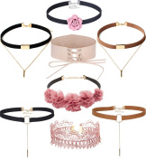 Tpocean 8pcs Vintage Pink Flower Lace Leather Velvet Chokers Set with Charms Lace up Bandage Choker Necklace Plus Size for Women Girls 90s Gifts
