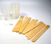 NSI 10 60ml Graduated Cups and 10 Wood Stir Sticks for Mixing Small Batches of Paint, Stain, Epoxy, Resin
