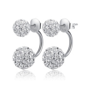 925 Sterling Silver Double Beads Crystal Stud Earring Women Fahion Jewellery
