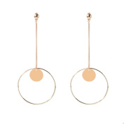 Women's Full Circle Geometric Pendant Hoop Earrings Long Drop Dangle Sequins Ear Stud Tassel Earring