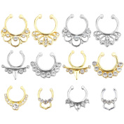 SOTOGO 12PCS Mixed Fake Nose Ring Crystal Nose Ring Fake Septum Piercing Hanger Clip On Body Jewellery-All Rhinestone