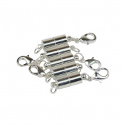 Lieomo 5Pcs 1.3cm Tiny Silver Magnetic Clasp Filled Converter For Necklaces Closed Loops