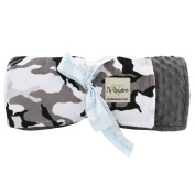 My Blankee Winter Camouflage with Minky Dot Back Throw Blanket, Charcoal, 130cm x 150cm