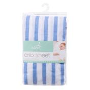 aden by aden + anais crib sheet, brunnera blue stripe