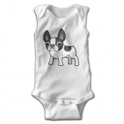 YiYa Infants Boy's & Girl's French Bulldog Short Sleeve Baby Climbing Clothes For 0-24 Months White