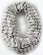 Loop-dee Heather Grey & Ivory 1.3cm Stripe Nursing Infinity Scarf