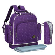 S-ZONE Multi-function Baby Nappy Bag Backpack with Changing Pad and Portable Insulated Pocket