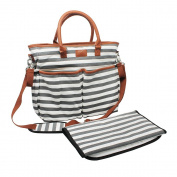 Nappy Bag for . Moms, Grey, Premium Cotton Canvas Tote Bag, 13 pockets Including Insulated Bottle Holders, by Ihoney Bag