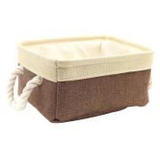 Kernorv Brown Beige 100% Natural Linen Storage Bins for Shelves, Foldable Organiser Basket with 2 Sturdy Rope Handles, for Nursery,Closet Storage,Toys, Laundry, Bathroom, Office, Car.