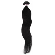 Beauty7 Black Bean 100S 100 STRANDS/50S 50 STRANDS Pre Bonded Nail U Tip 100 % Remy Human Straight Hair Extensions (#1) 46cm 50cm 60cm 60cm Women Ladies Girls Parties Cosplay
