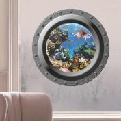 Wall Stickers,GOODCULLER Submarine Window Underwater World 3D Wall Sticker Home Decor Wall Sticker Home Decor