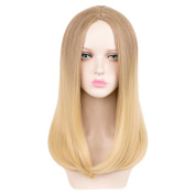 SiYi Long Blonde Wig Brown Ombre Straight Synthetic Middle Part Wigs Cosplay Party Heat Resistant Full Wigs for Women